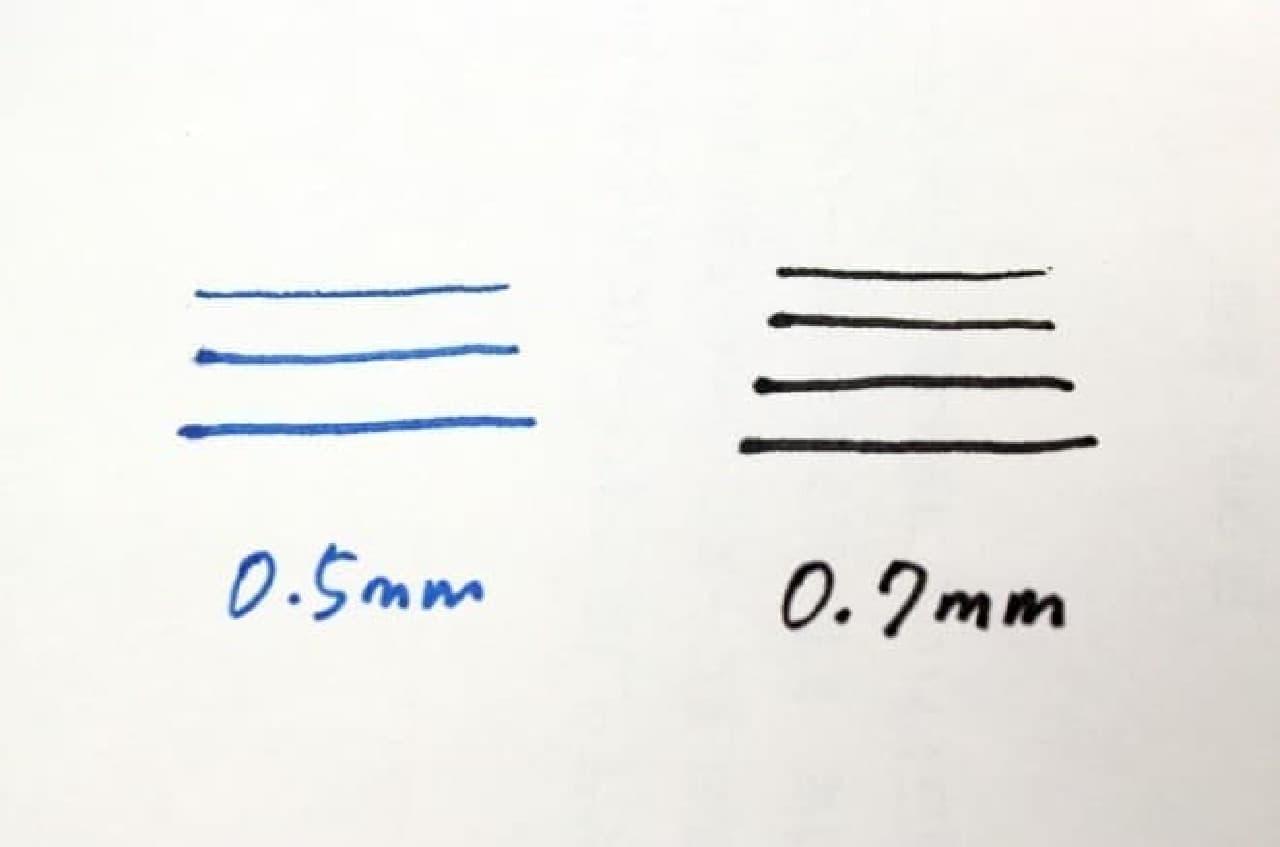 メーカーサイトによると、0.5mmの描線幅は0.3mm~0.5mm  0.7mmの描線幅は0.4mm~0.6mm