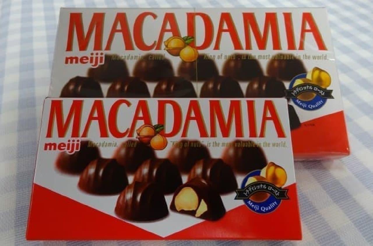 例えばこんなの  ビッグサイズ(と普通サイズ)のマカダミアチョコです  他にも、大きめチョコはいろいろありますよ!