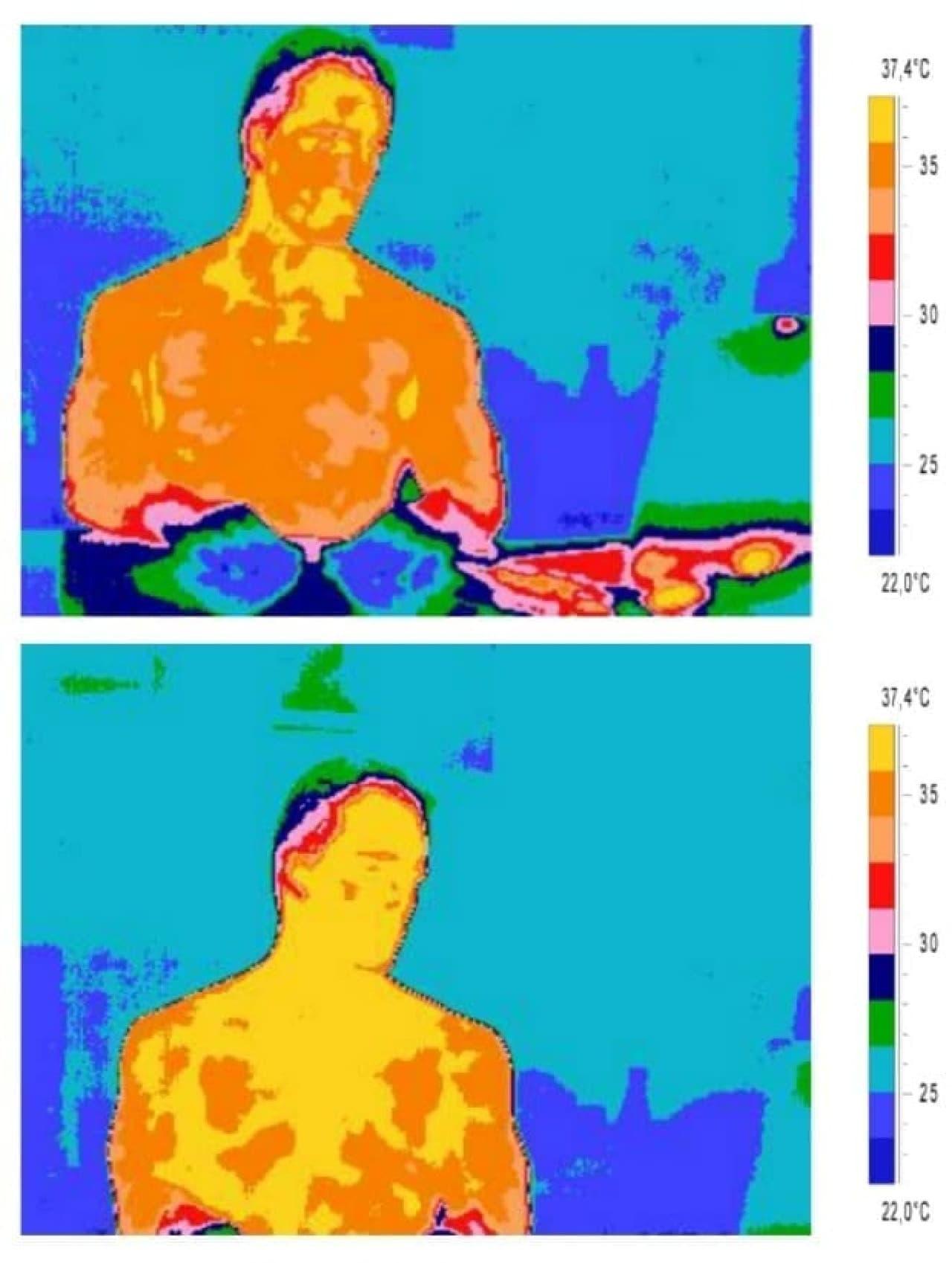画像上:通常時の体温  画像下:恋人の画像を見たときの体温  明らかに、体温が上昇しているのがわかります