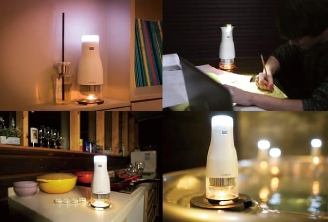 キャンドルの熱で発電して光るLEDランプ「Lumir C」