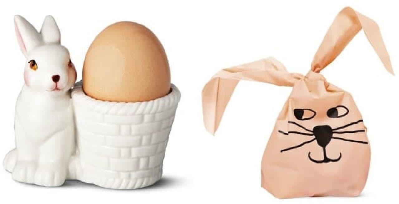 (左)ウサギのイースタージャー 300円  (右)茶目っ気たっぷりなスナックバッグ 200円