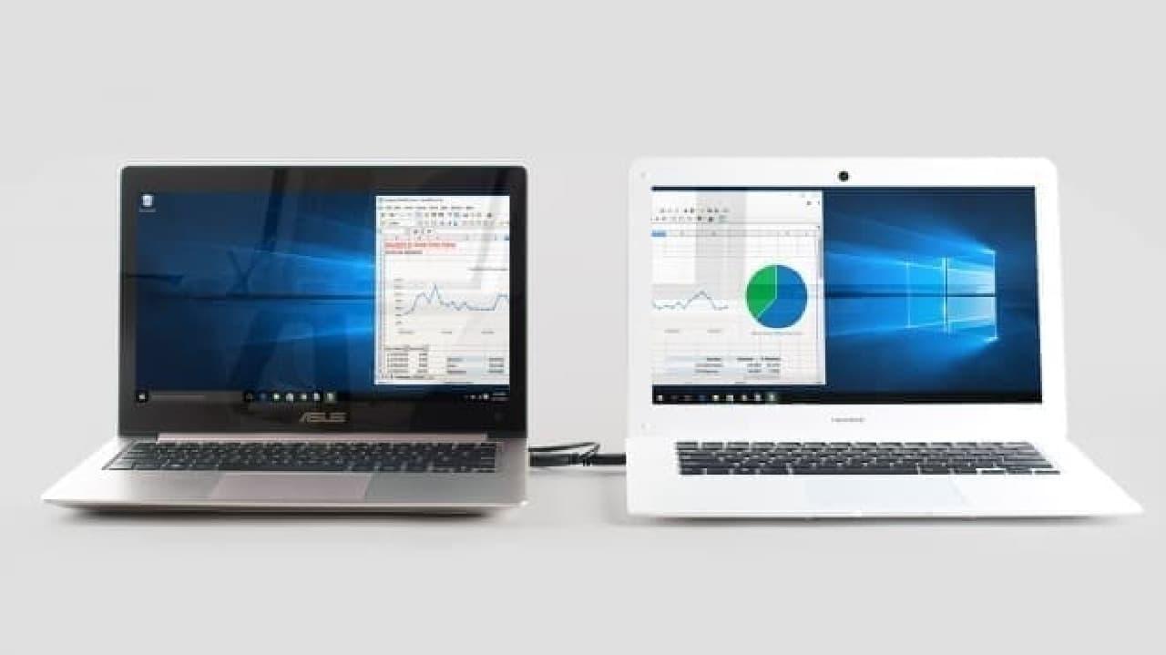 Windowsノートパソコンと接続し、セカンダリスクリーンとして使用できる
