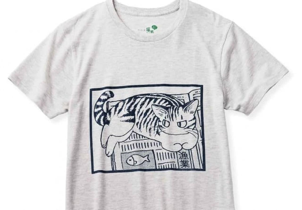 「猫好き猛アピールTシャツ」のWeb販売開始  山野りんりんさんの描くネコは、やっぱりカワイイ!  (画像は新作の「新聞見るの邪魔しちゃう猫」)