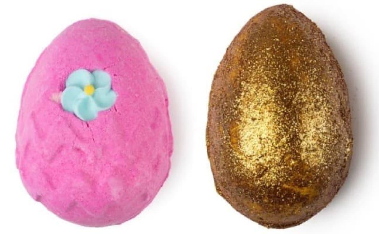 (左)毎年大人気のバスボム「キャンディエッグ」500円  (右)ゴージャスなバスボム「ゴールデンエッグ」720円