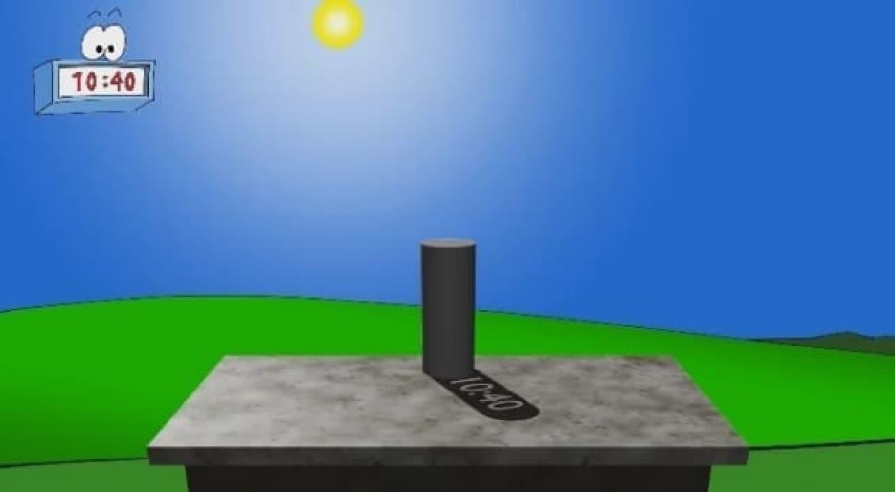 10時40分に光が差す角度にあわせ「10:40」を表現するスリットが開けてあり  影の中に「10:40」と表示する
