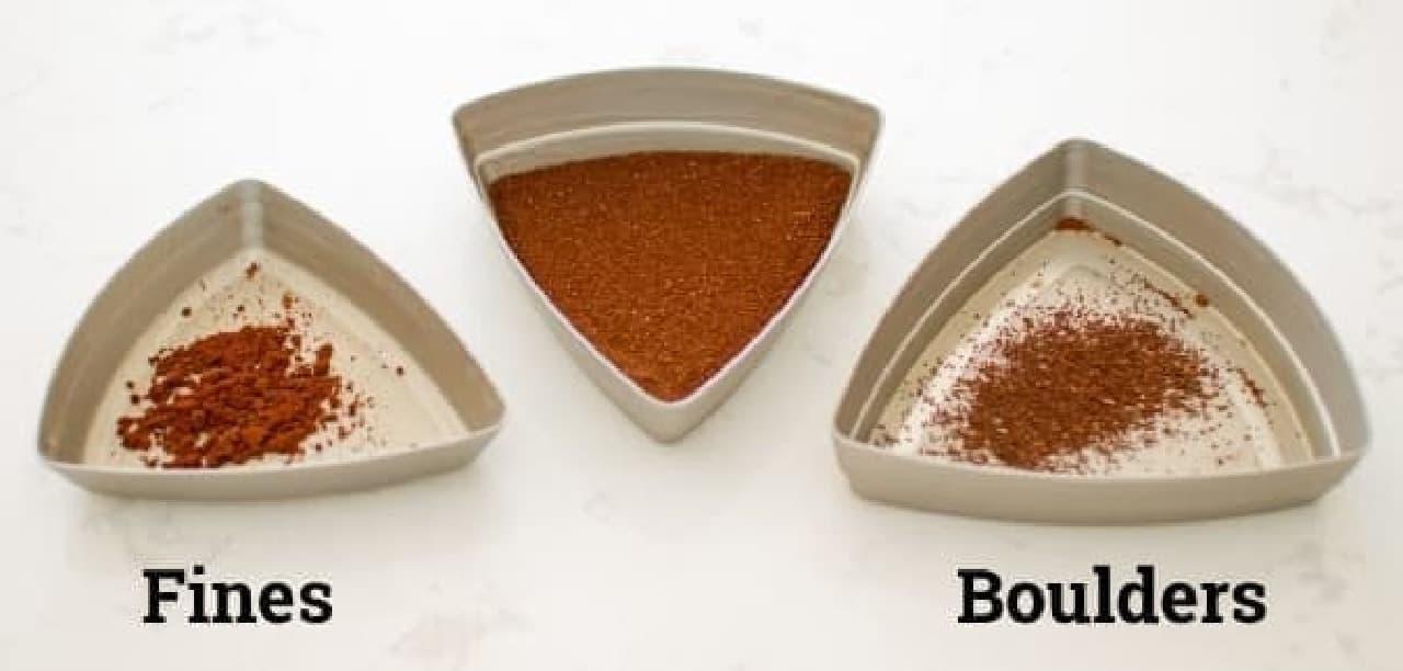 中央が選別された粉  左が微粉で、右が渋皮など