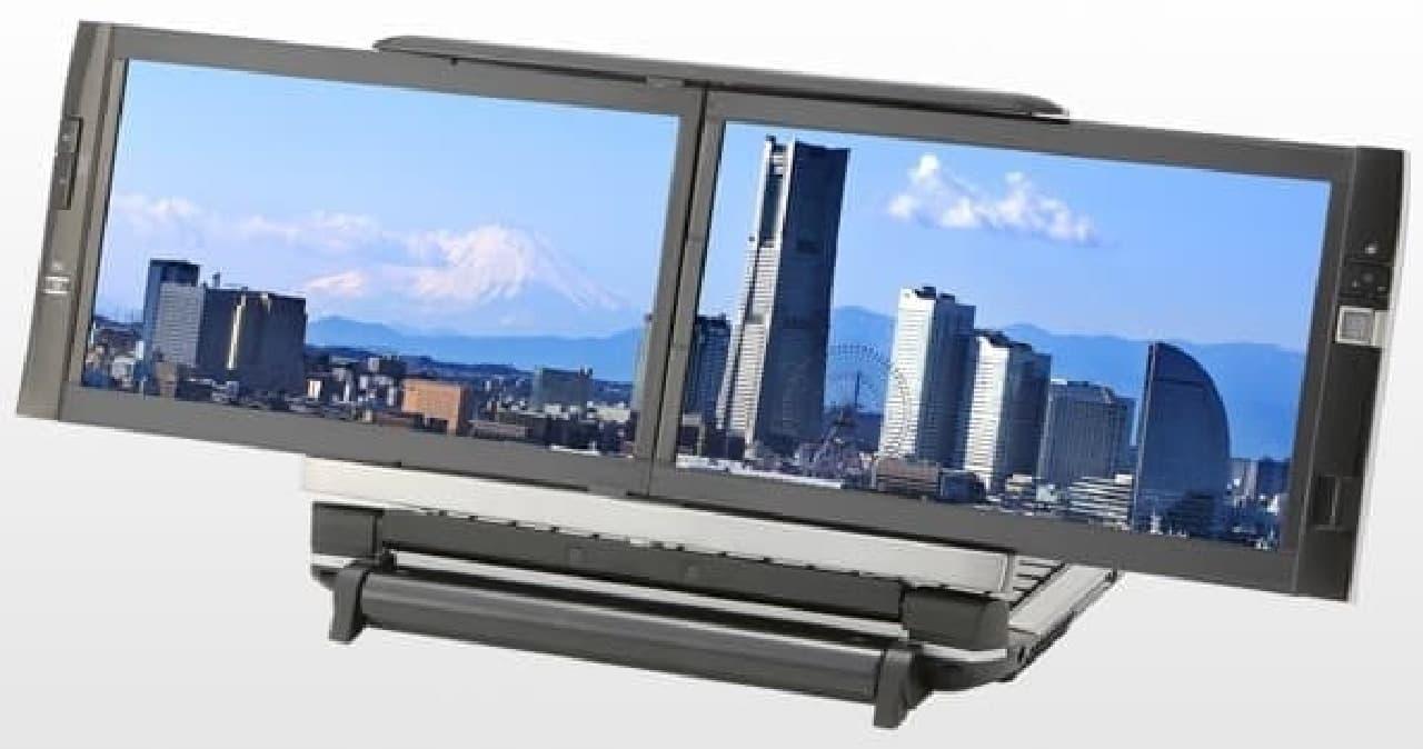 """ノートPCが時代の花形だった時代の""""わくわく""""製品の例  収納式デュアルディスプレイを搭載したKOHJINSHA DZシリーズ  (画像はKOHJINSHAの公式Webサイトから)"""