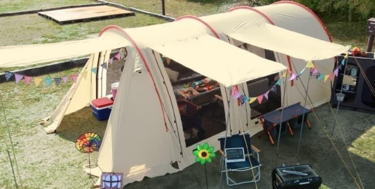 かまぼこ型の型テント「カマボコテント」  (注:宿泊しても、かまぼこ目にはなれません)