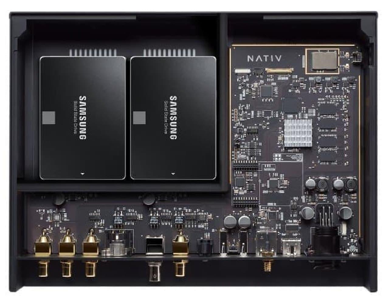 ストレージとして、2.5インチHDDを最大2つまで内蔵可能