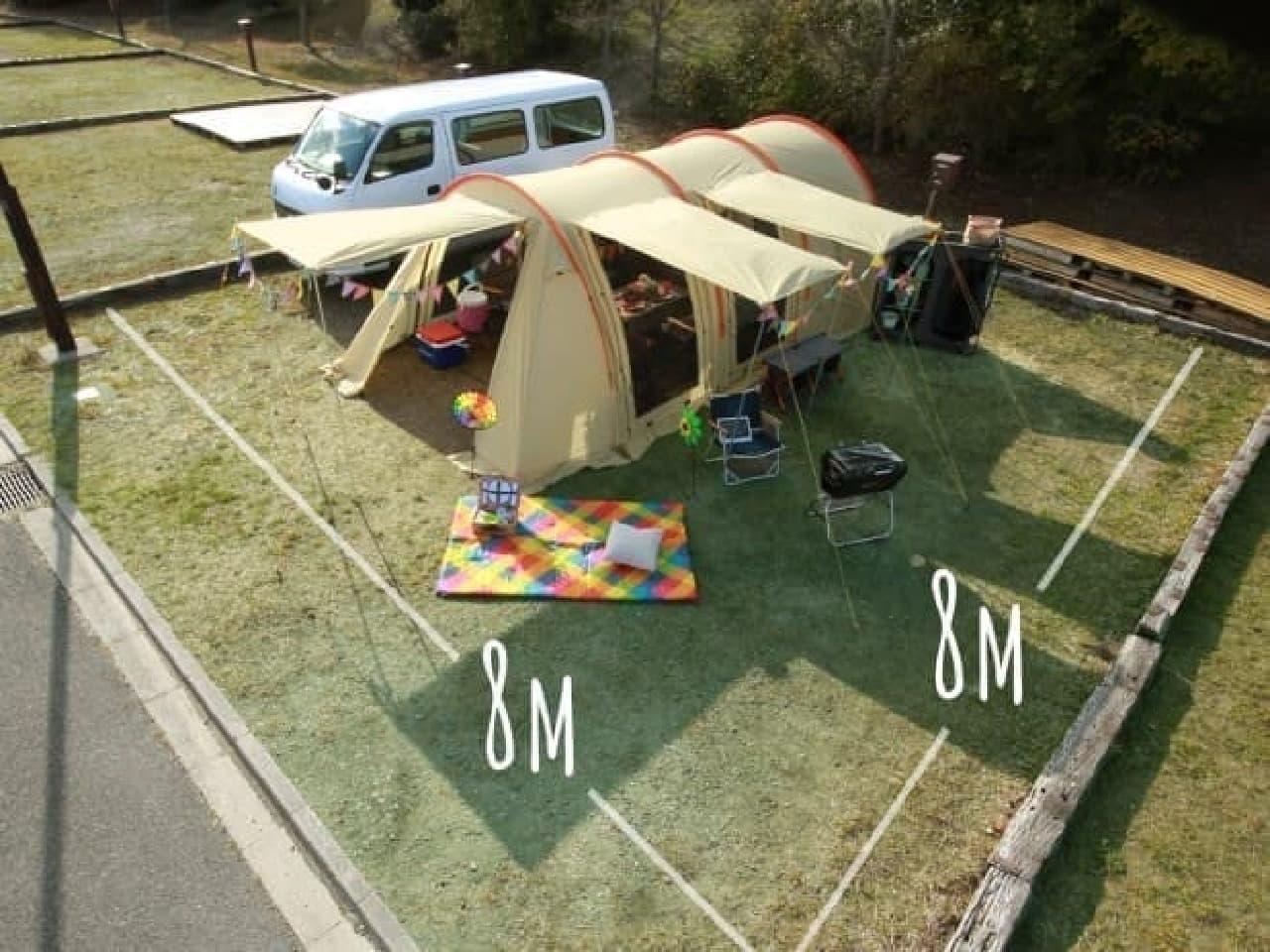 日本のキャンプ場に多い8~10メートル四方の区画にぴったり
