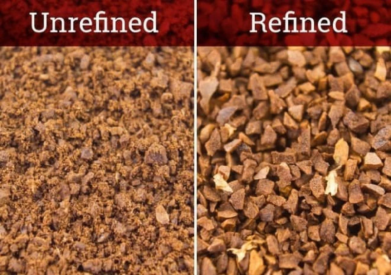 左:「Rafino」でふるいにかける前 微粉が付着しています  右:ふるいにかけた後 微粉が取り除かれています