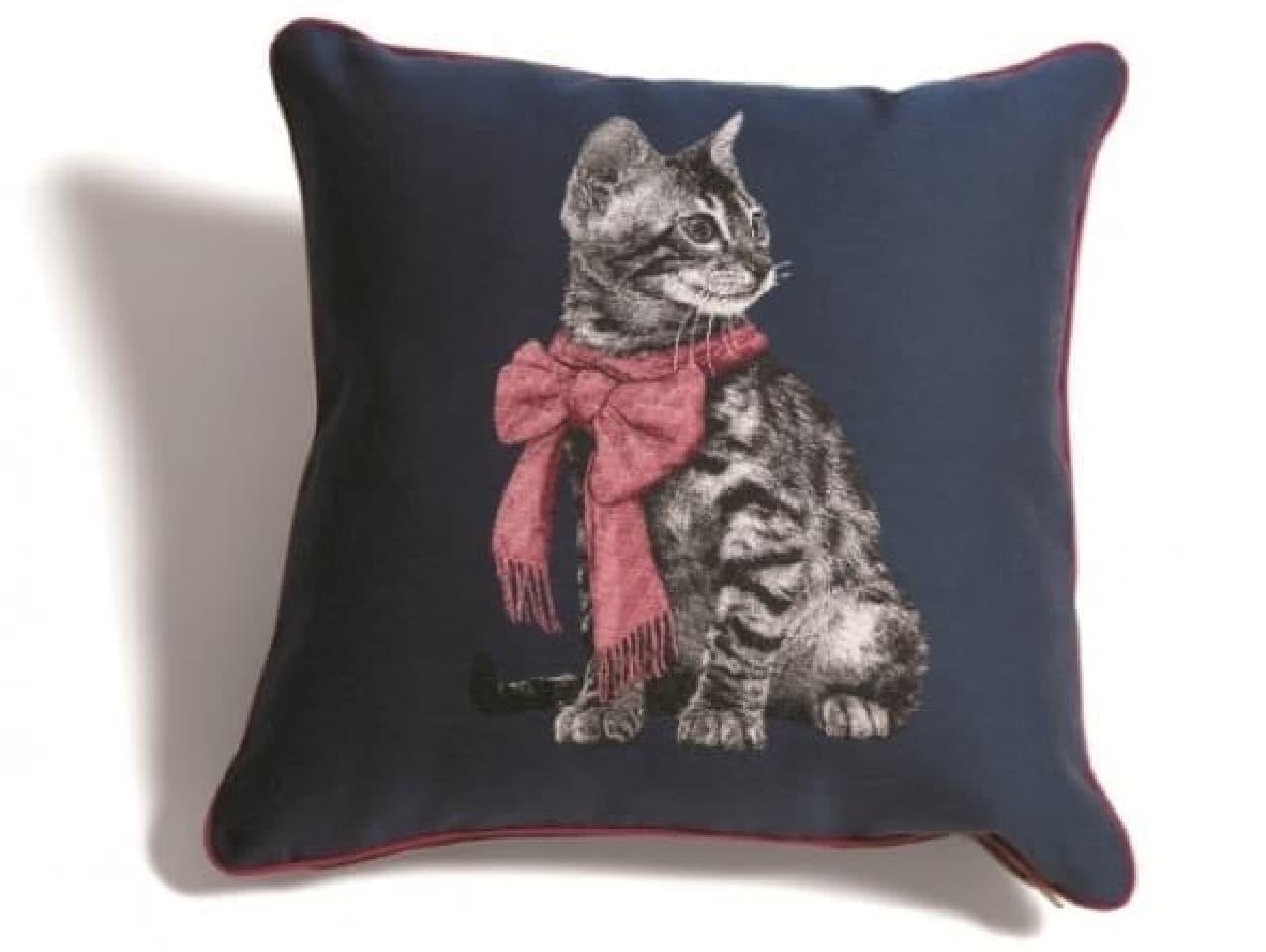 ジャカード織ネコのクッションカバー 4,500円
