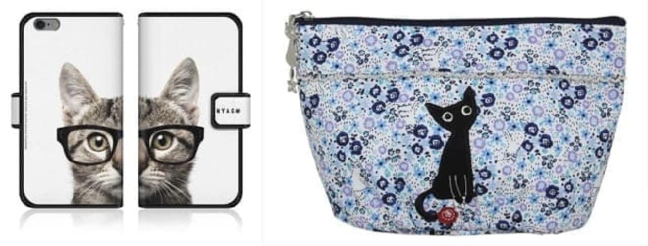(左)スマートフォンケース 3,456円  (右)ポーチ 1,620円