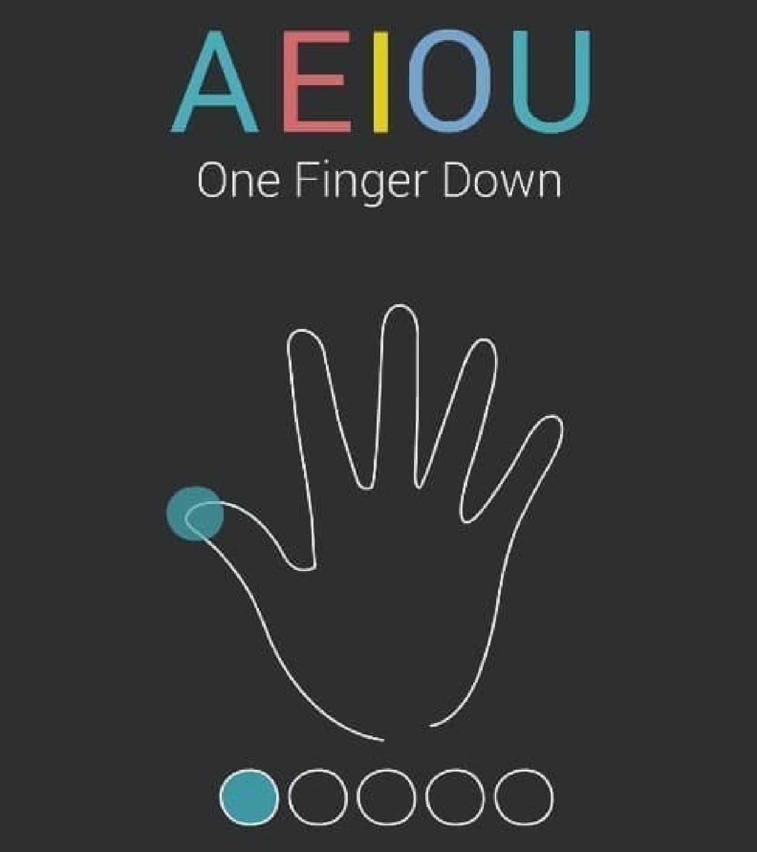 「A」を入力するには、親指をタップする