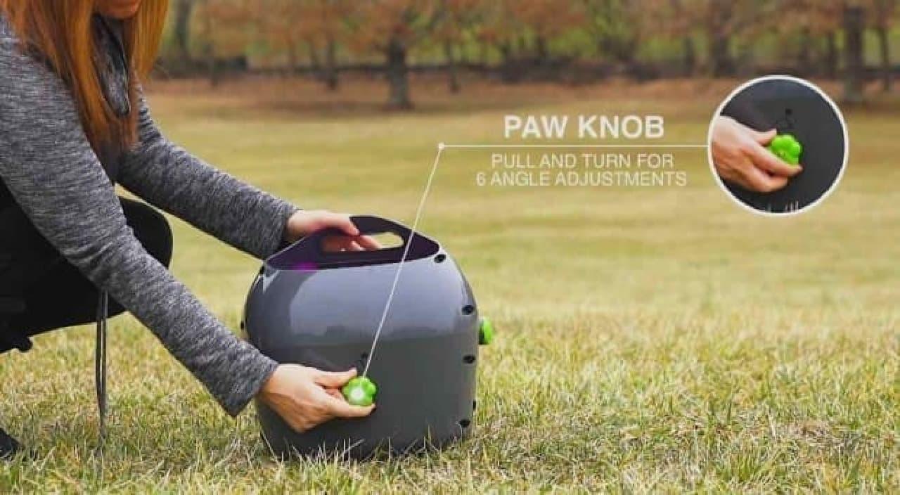 「犬の手ノブ」を使えば、投げる角度を6段階で設定可能