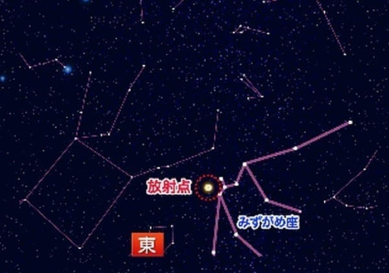 「みずがめ座イータ流星群」放射点  (画像はウェザーニューズの特設サイトから)