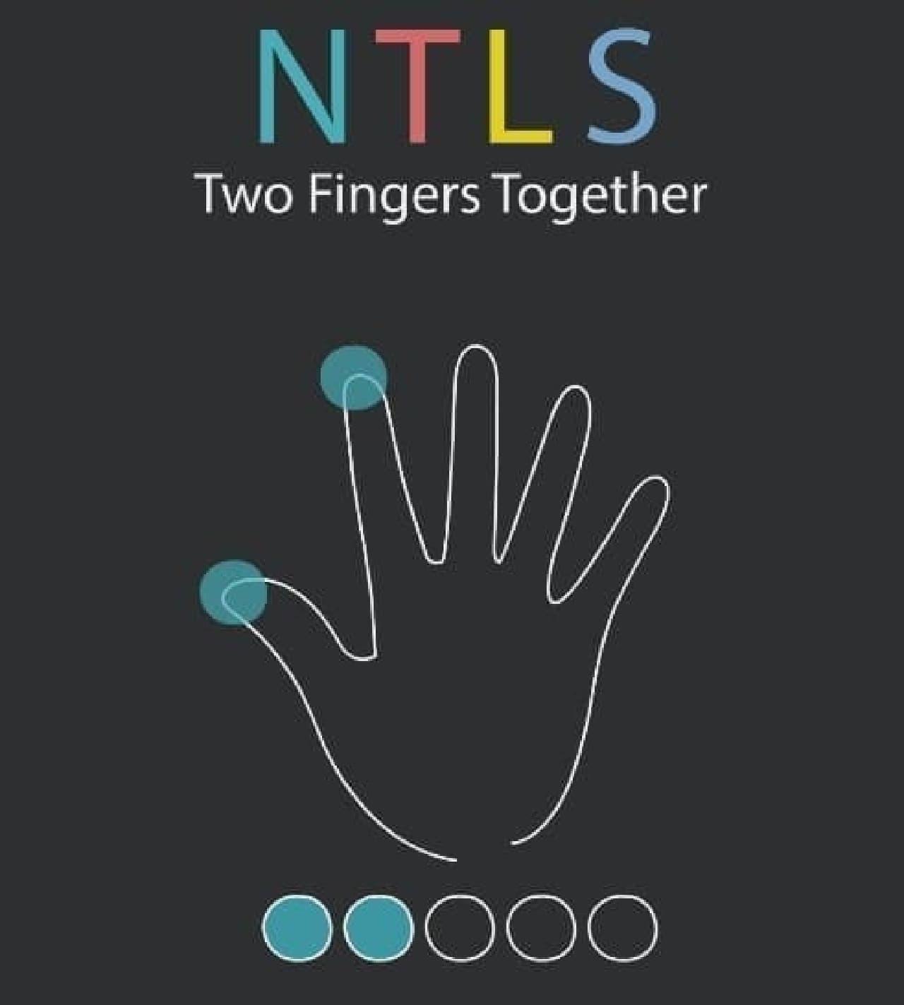 「N」を入力するには、親指と人差し指を同時にタップ