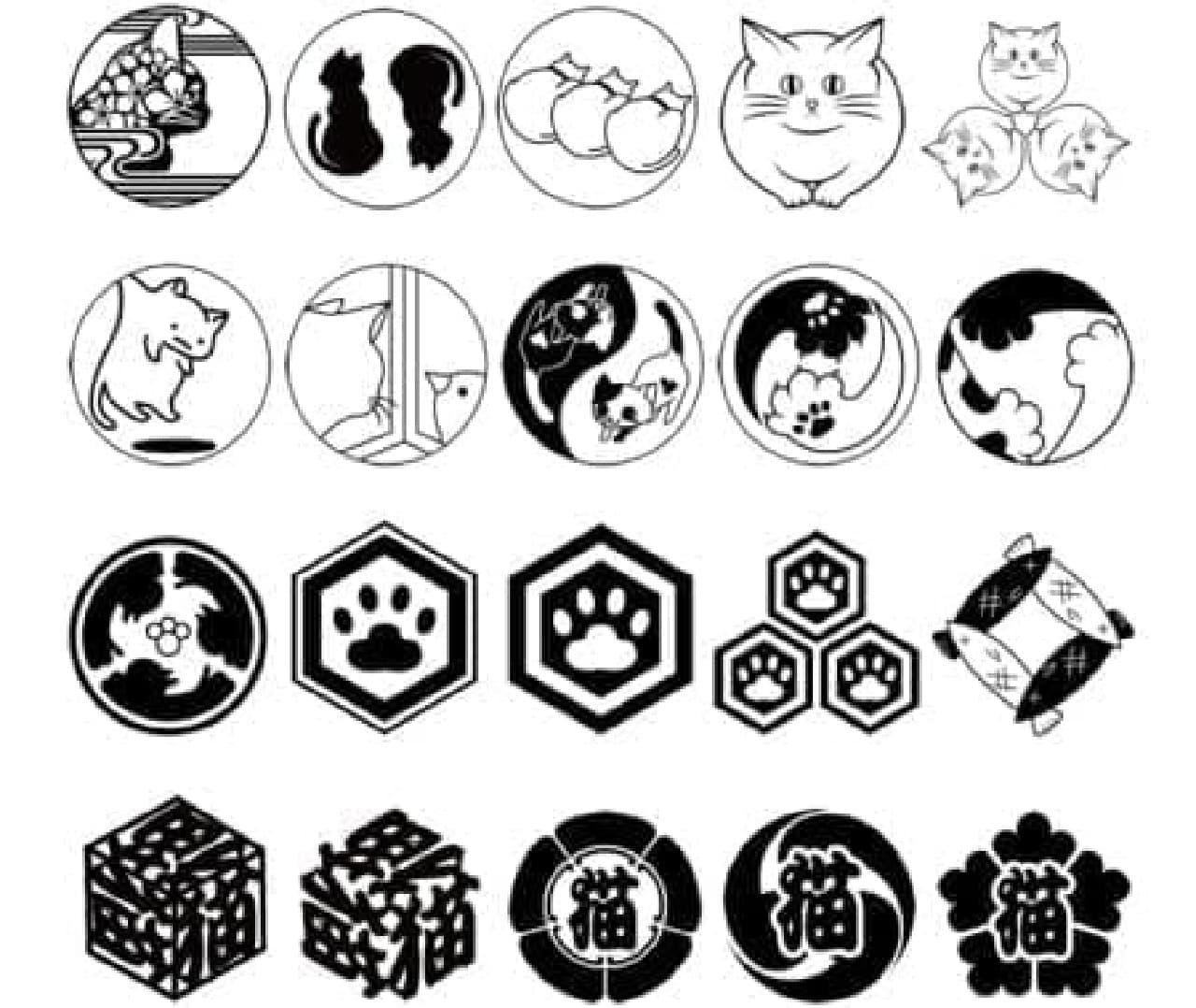 猫家紋は20種類  おさかなもいる!