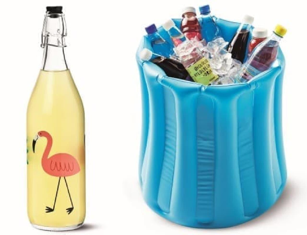 (左)ガラスボトル300円、(右)クーラーボックス800円