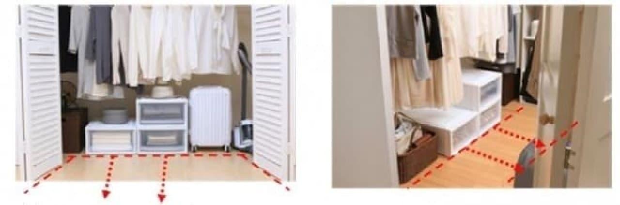 従来のクローゼット(左)は前に引き出しやすいが、  ウォークインクローゼット(右)はスペースが限られている