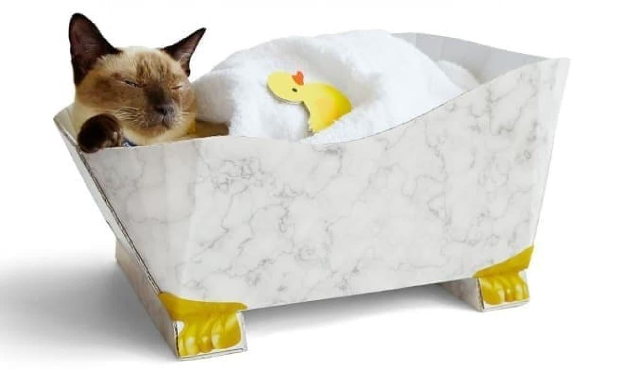 猫さまの入浴タイムをのぞき見!? お風呂形つめとぎ 大理石風の外観
