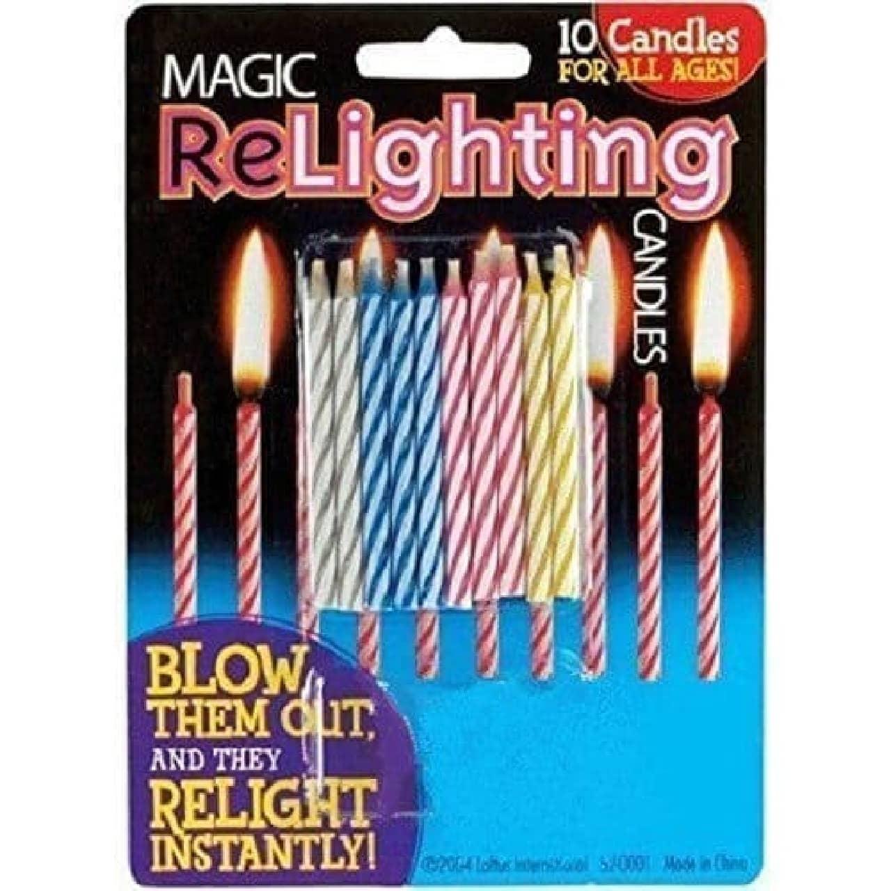 何度吹き消しても、すぐに火が付くロウソク「Magic Relighting Birthday Candles」