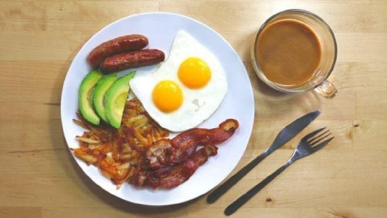 「エッグ モールド キャット」での調理例:アメリカンブレクファスト