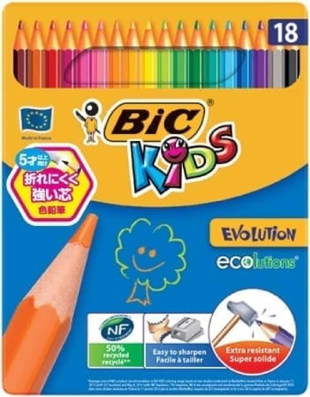 BIC KIDS「色鉛筆 18色缶入り」