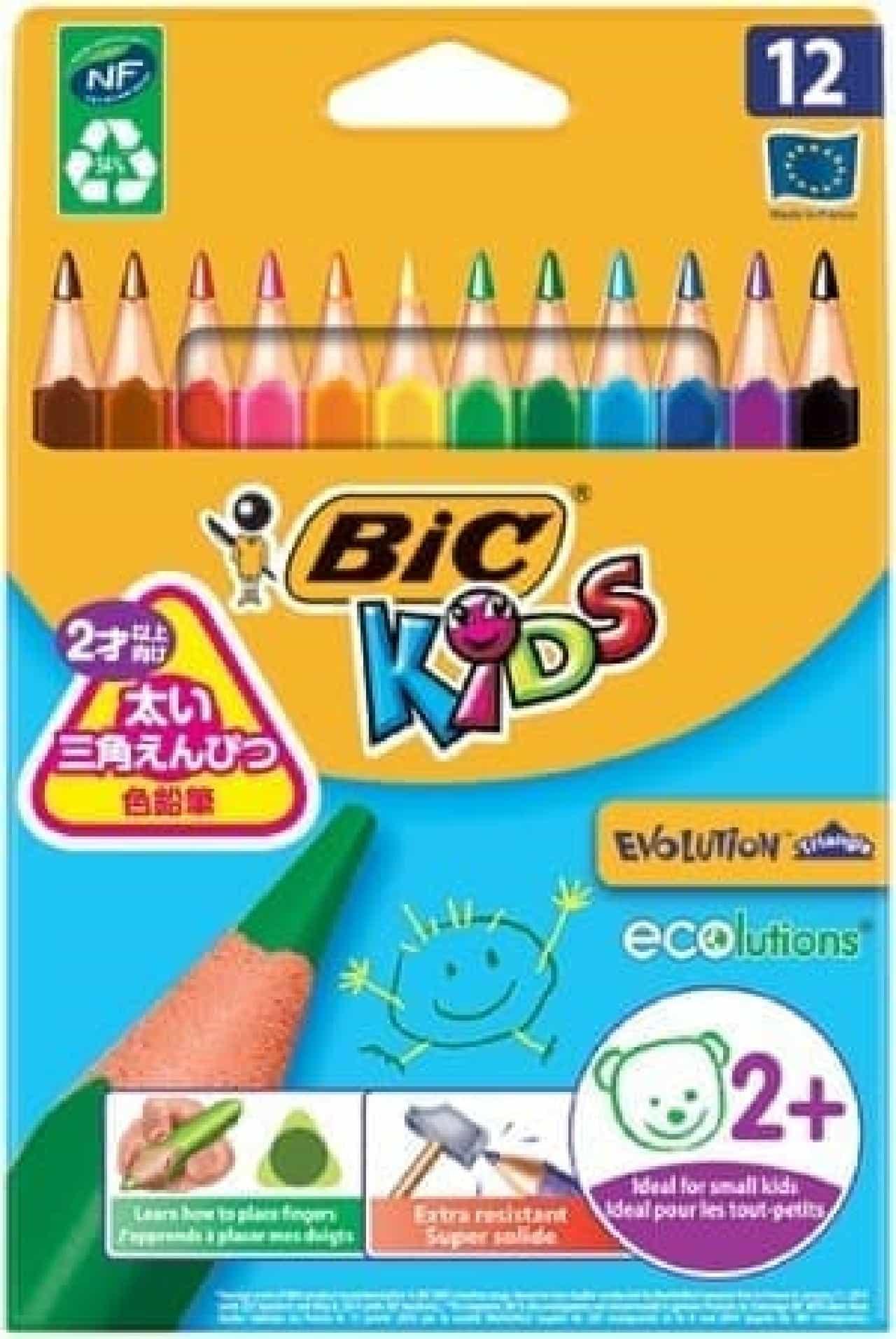 BIC KIDS「さんかく軸色鉛筆 12色」