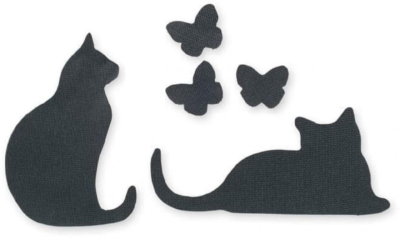 「影ニャーシート」は、ネコタイプが「お座りネコ」と「伏せネコ」の2枚、ちょうタイプが3枚