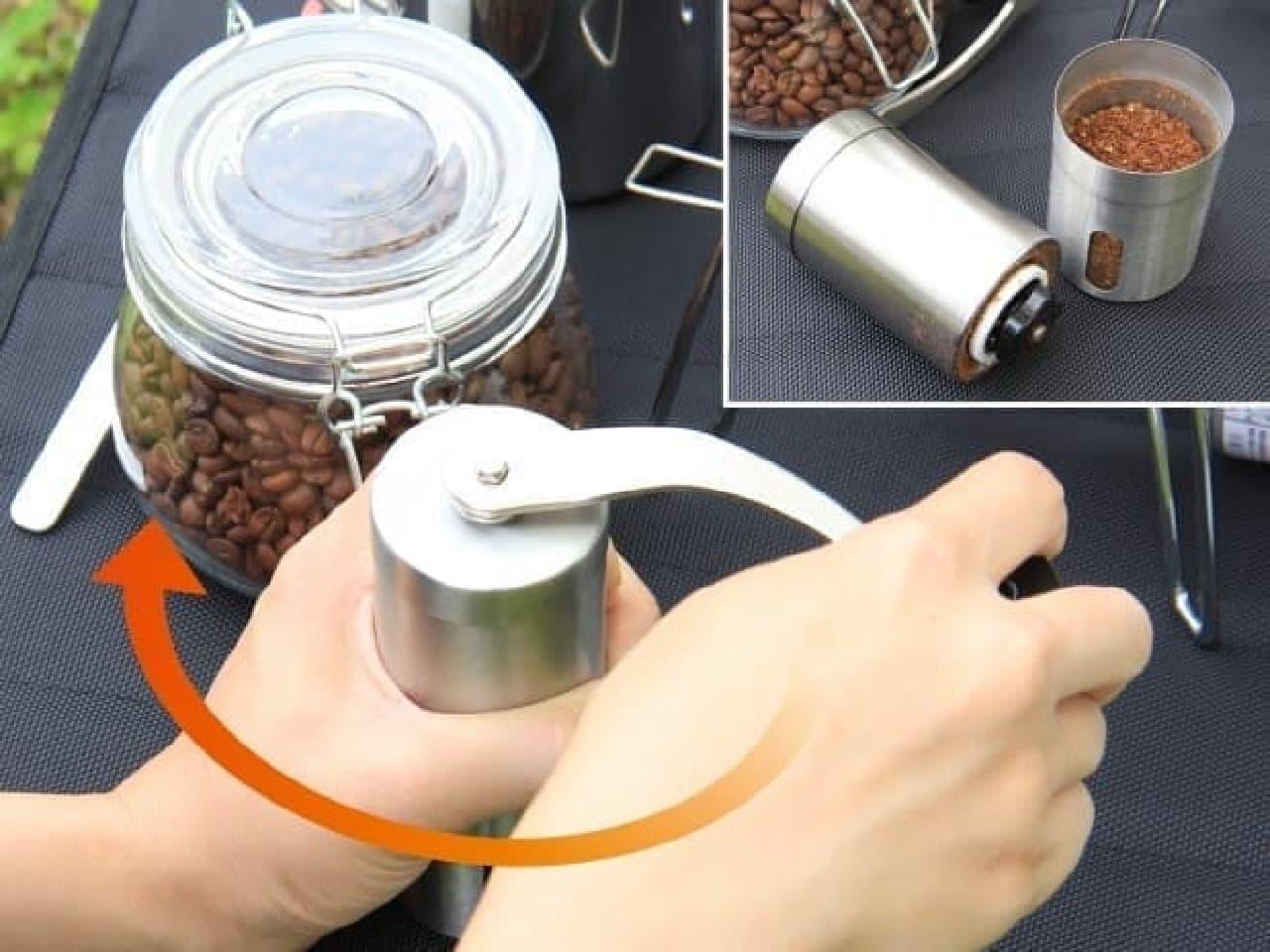 コーヒー豆をグラインド
