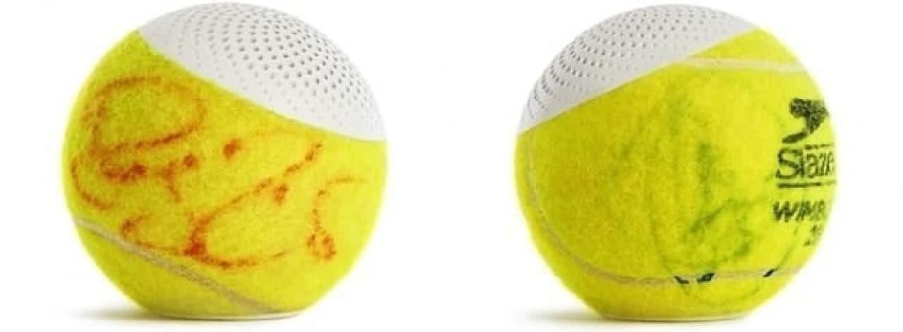 プロトタイプとして製造されたロジャー・フェデラー(左)、ノバク・ジョコビッチ(右)のサインボール版「hearO」