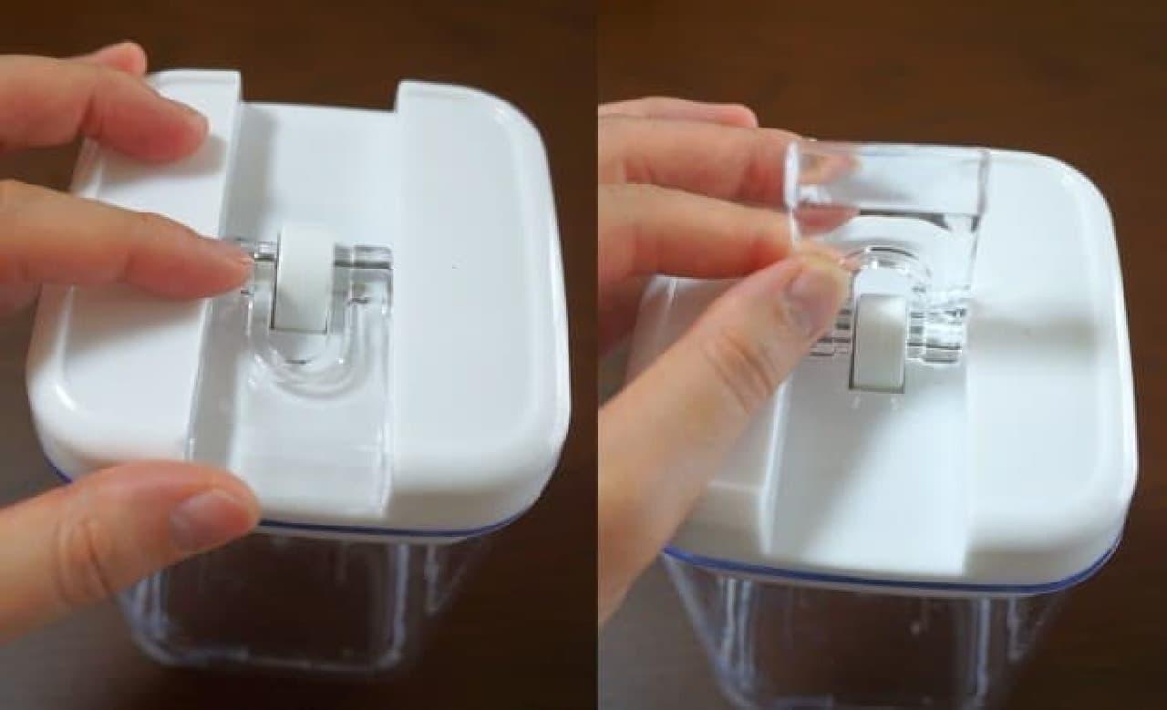 カインズ「片手で開け閉めができる保存容器」