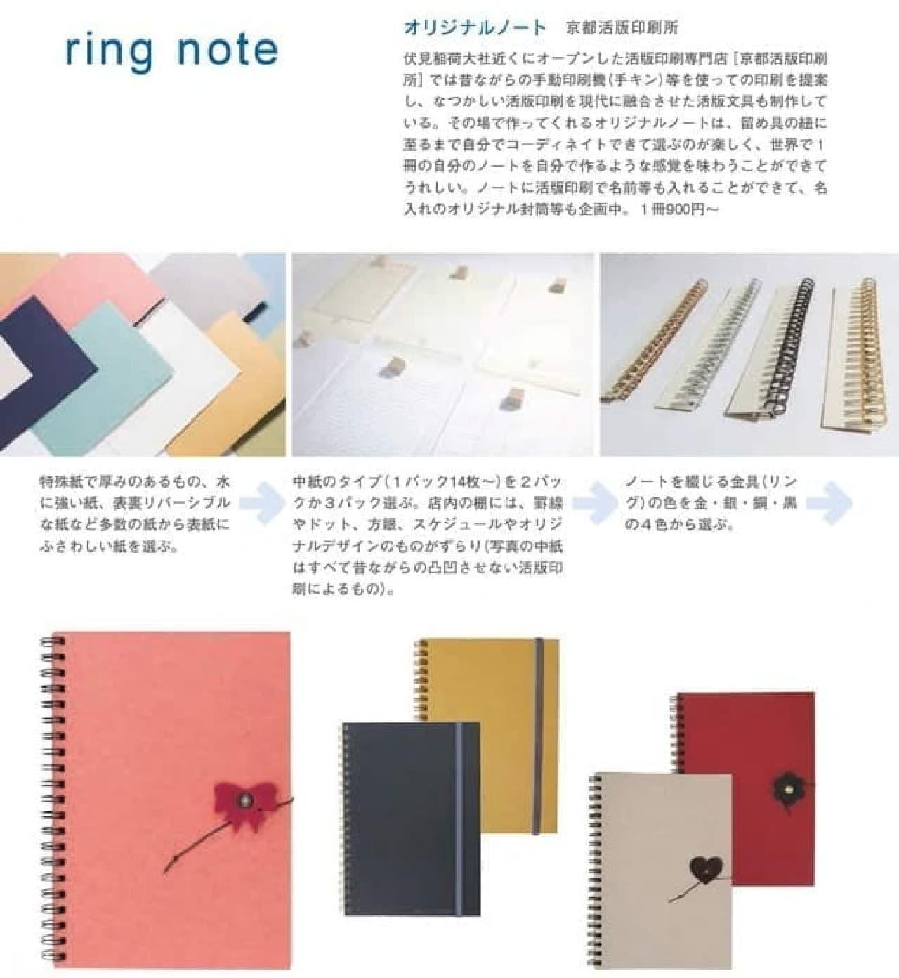 『京都文具大全』で紹介されている「京都活版印刷所」で製作してくれるオリジナルノート