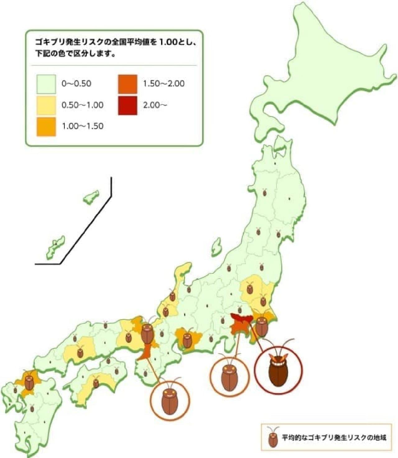 ゴキブリ被害多発地域、ワースト3位は大阪、2位は神奈川、1位は?