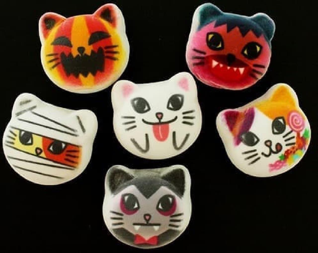 ネコがジャックオランタンやミイラに扮した「ハロウィーンニャシュマロ6個入り」