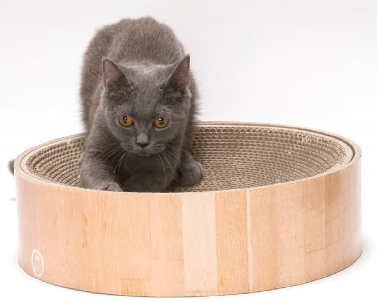 ネコが入りたくなる爪とぎ…すり鉢構造の「バリバリボウル」