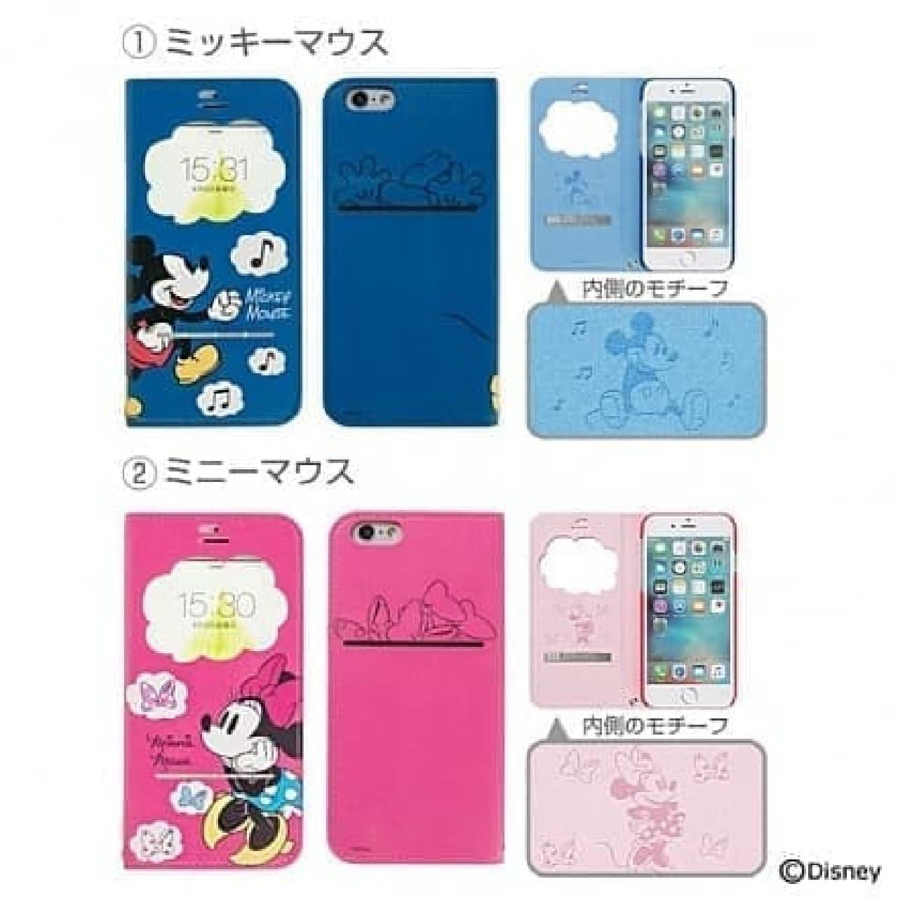 iPhone 7専用「ディズニーキャラクター/フリップ窓付きダイアリーケース」