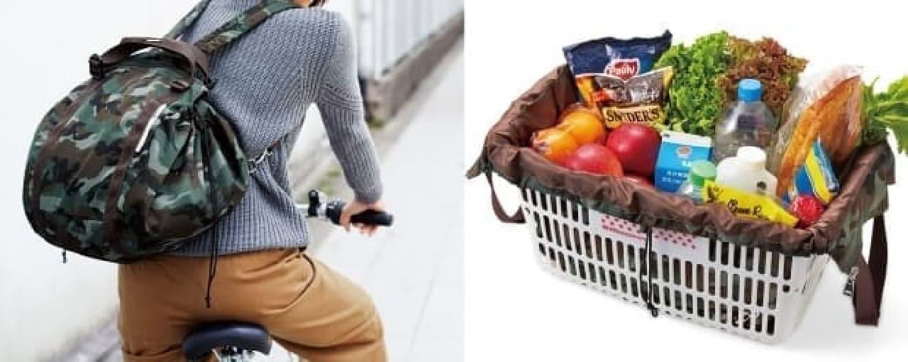 自転車でのお買い物に便利な「レジカゴリュック」に、「カモフラ柄」登場
