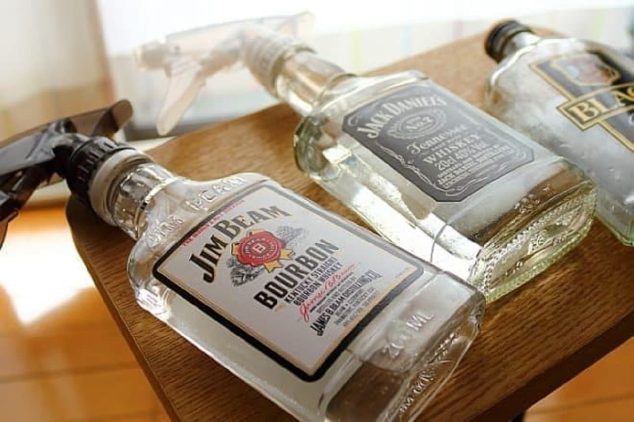 ウイスキーの空き瓶を使ったスプレーボトル