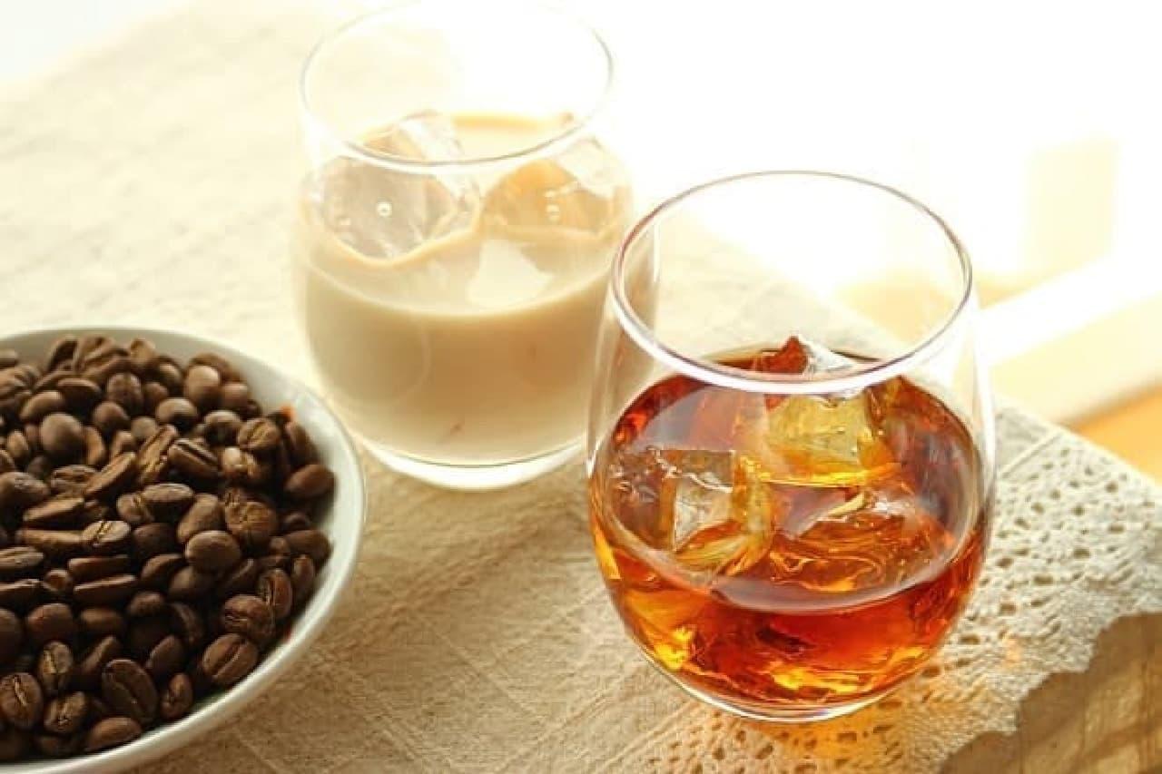 コーヒー焼酎のロックと牛乳割り