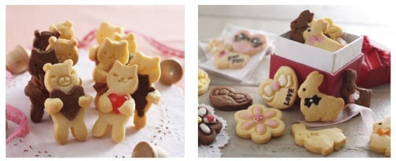 スタンプで表情が作れるだっこクマクッキー型