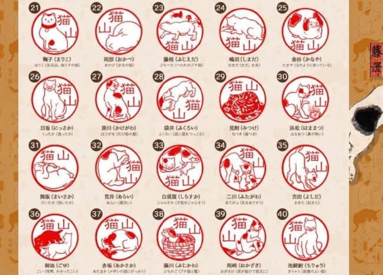 江戸時代の猫のはんこ「五十三疋のねこずかん」