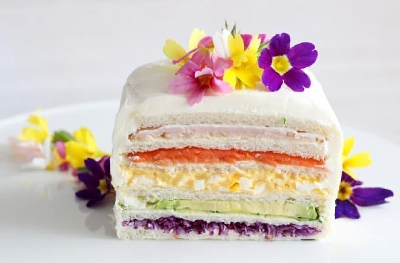 イースターのレインボーサンドイッチケーキ
