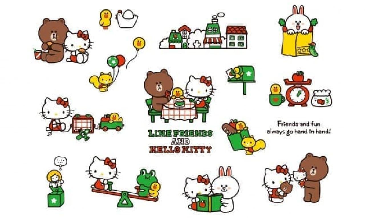 「LINE FRIENDS&HELLO KITTY」コラボレーションシリーズ