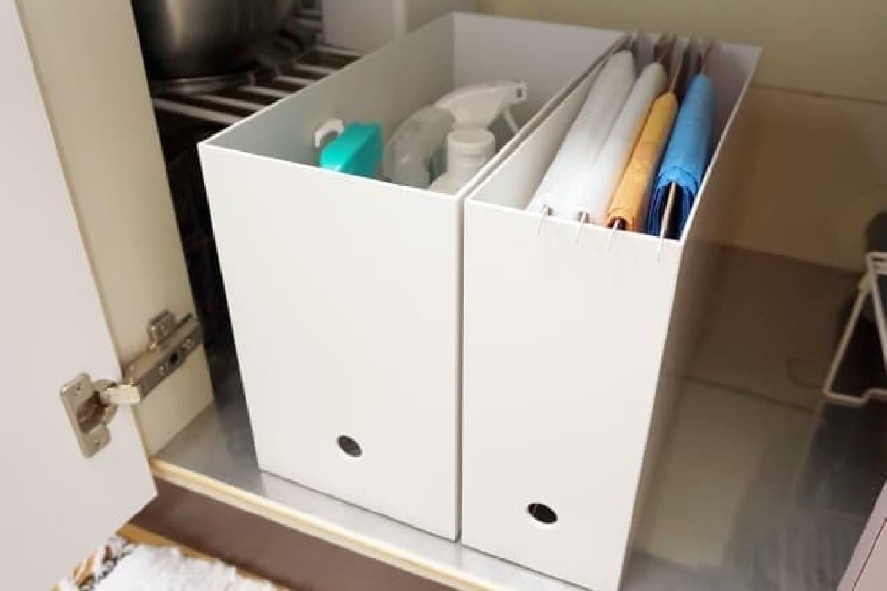無印良品のファイルボックスでゴミ袋ストッカー