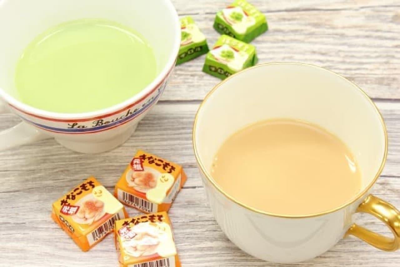 チロルチョコ×日東紅茶 きなこラテとチロルチョコ×日東紅茶 抹茶ラテ