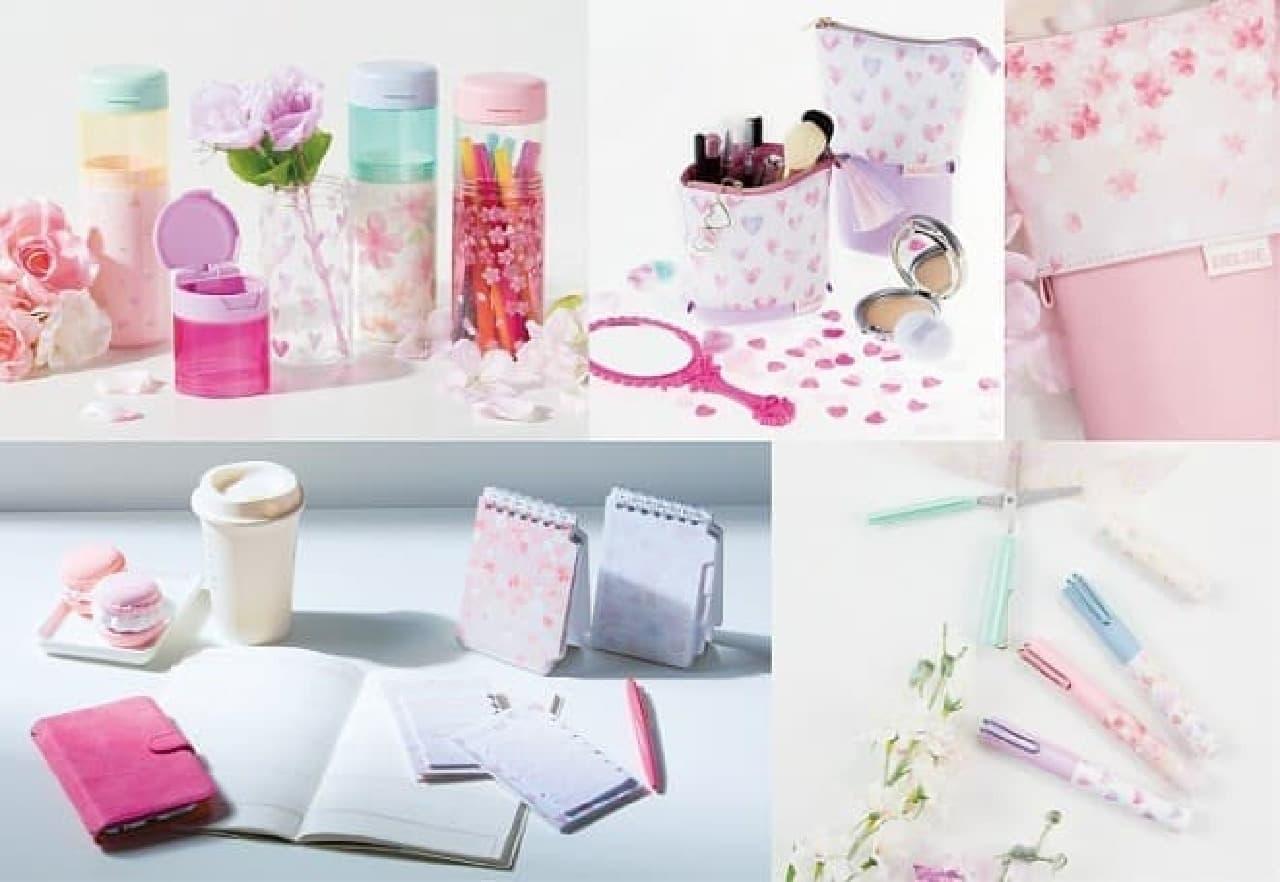 桜やハート柄をデザインした文具「Happy Spring」シリーズがサンスター文具から