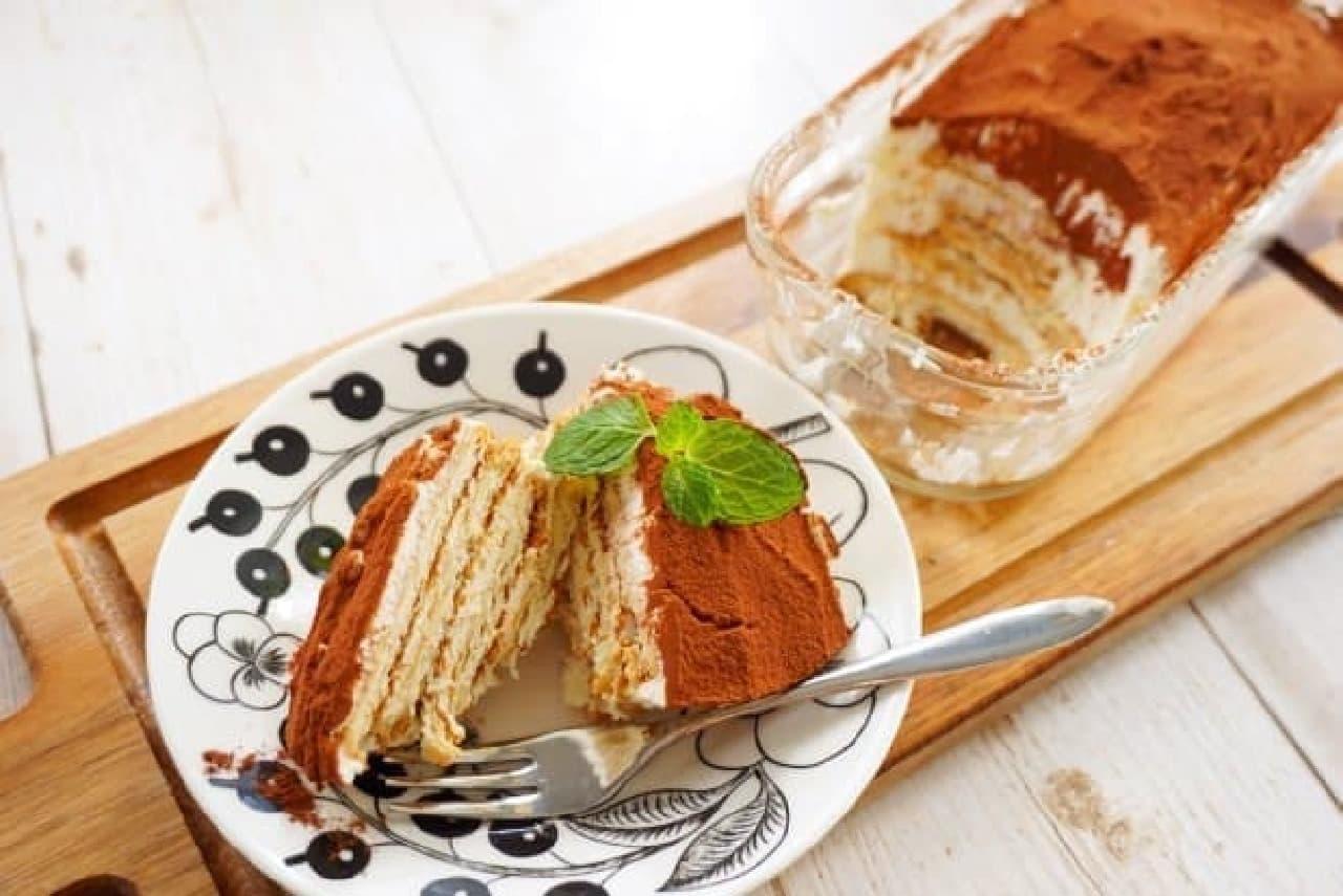 マリーで作るティラミス風ビスケットケーキ