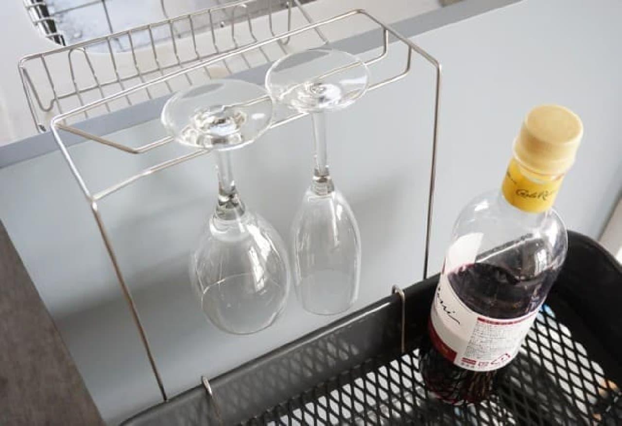 ダイソーの引っかけワイングラススタンド